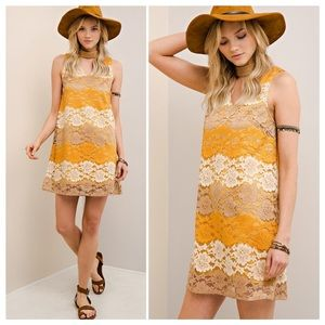 Boho Mod Vintage Style 70's Lace Dress